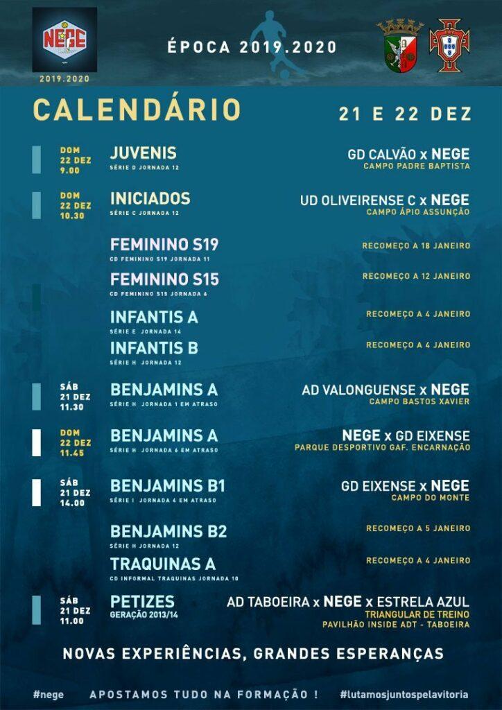 NEGE CALENDÁRIO SEMANA 17  |  21 E 22 DEZ  21 e 22 de dezembro 2019
