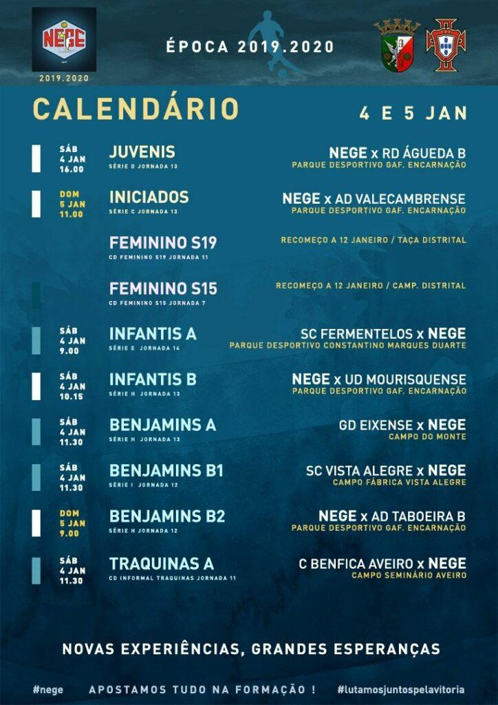 NEGE CALENDÁRIO SEMANA 19  |  4 E 5 JAN  4 e 5 de janeiro 2020