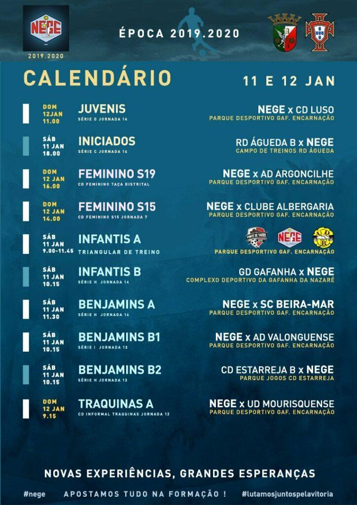 NEGE CALENDÁRIO SEMANA 20  |  11 E 12 JAN  11 e 12 de janeiro 2020
