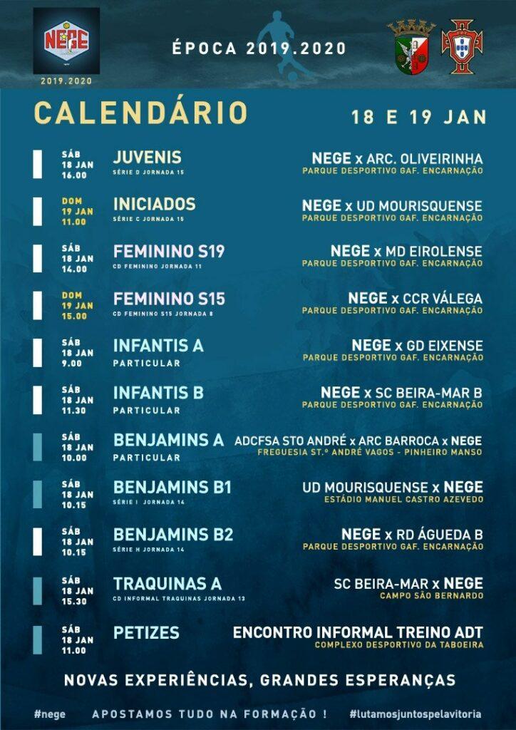 NEGE CALENDÁRIO SEMANA 21  |  18 E 19 JAN  18 e 19 de janeiro 2020