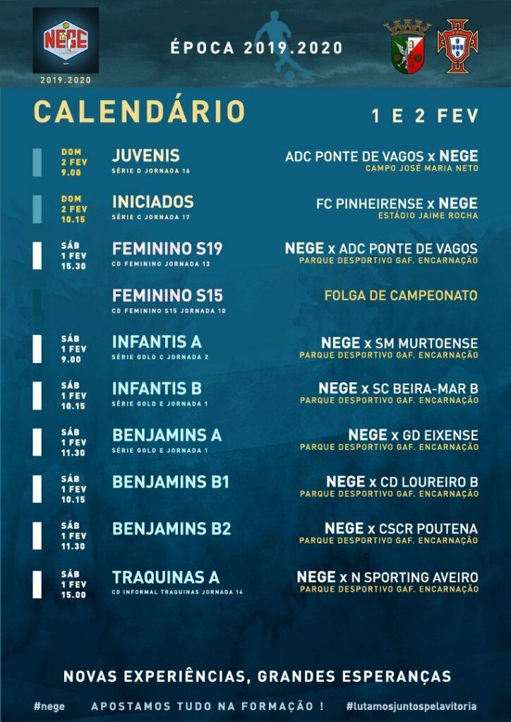 NEGE CALENDÁRIO SEMANA 23  |  1 E 2 FEV  1 e 2 de fev 2020