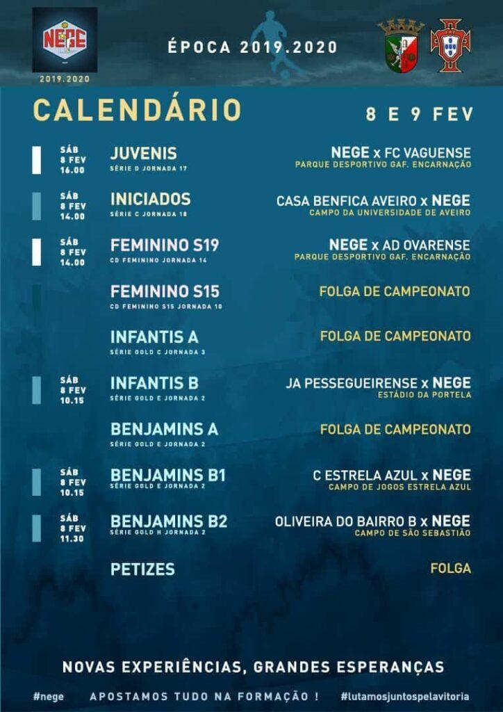 NEGE CALENDÁRIO SEMANA 24 |  8 E 9 FEV  8 e 9 de fev 2020