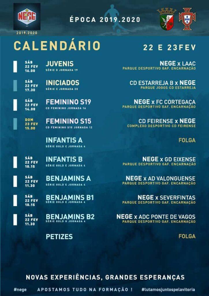 NEGE CALENDÁRIO SEMANA 26 |  22 E 23 FEV  22 e 23 de fevereiro 2020